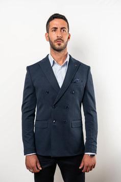 Extra Slim fit, zweireihiger Blazer in marineblau mit Strukturmuster