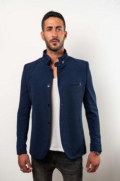 Extra Slim fit, sportlicher Blazer mit Stehkragen in dunkelblau