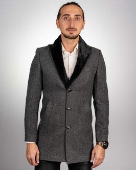 Extra Slim fit, grauer Mantel mit Strukturmuster