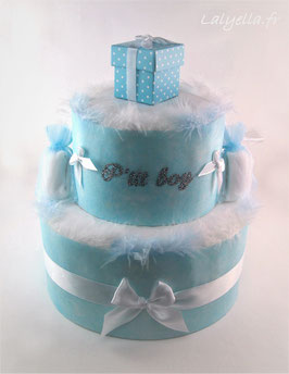 Diaper cake douceur de bleu 2 étages