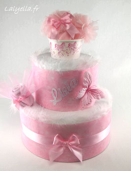 Diaper cake papillon rose