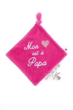 """Doudou """" mon coeur est à papa """" rose"""