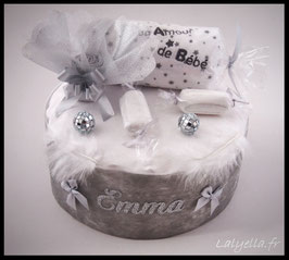 Diaper cake douceur de gris