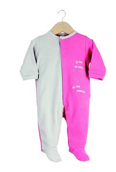 """Pyjama """" je suis le petit coeur de maman """" fuchsia/gris"""