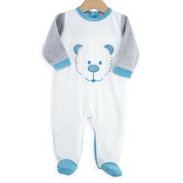Pyjama tête d'ours turquoise/gris/blanc 6 mois