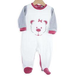 Pyjama tête d'ours fuchsia/gris/blanc 6 mois
