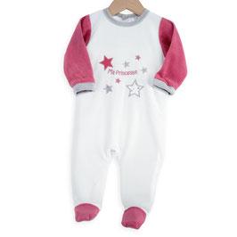 "Pyjama "" ma princesse "" fuchsia/gris/blanc 6 mois"
