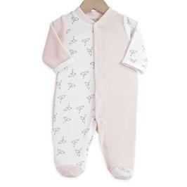 Pyjama petits oiseaux rose/blanc