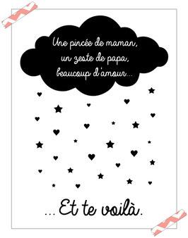 """Poster """" une pincée de maman, un zeste de papa, beaucoup d'amour et me voilà """" """""""