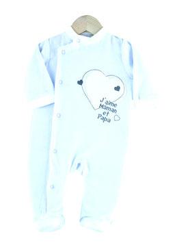 "Pyjama "" j'aime maman et papa "" bleu/blanc 6 mois"