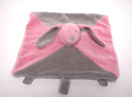 Doudou lapin rose/gris