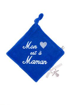 """Doudou """" mon coeur est à maman """" bleu"""