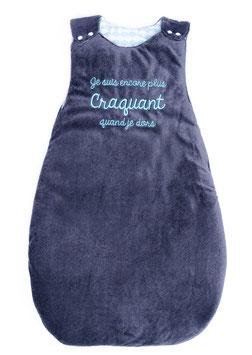 """Gigoteuse 0/6 mois """" je suis encore plus craquant quand je dors """" bleu/gris"""