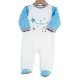 "Pyjama "" mon prince "" turquoise/gris/blanc 6 mois"