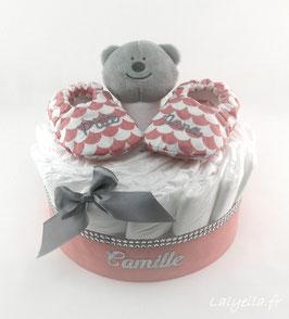 Mini diaper cake p'tite nana avec doudou