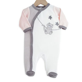Pyjama chat rose/gris/blanc 6 mois