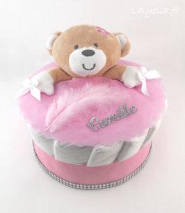 Mini diaper cake doudou fille