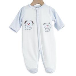Pyjama chien/chat bleu/blanc