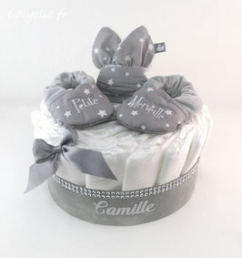 Mini diaper cake petite merveille avec hochet