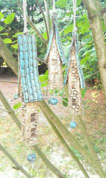 3 Keramik Windspiel Klangstäbe Steinhäuser hellblau
