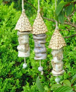3 Keramik Burgtürme Windspiel Glocken