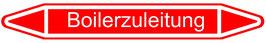 """Klebefolie """"Boilerzuleitung"""" Pfeilform 75x17mm/ 126x26mm/ 179x37mm"""