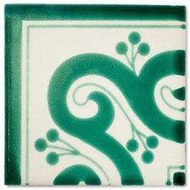 OC 144 Grün Eckfliese - 11x11 cm - Mexiko Fliese