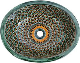 Pavo verde - Einbauwaschbecken oval aus Mexiko