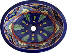 Verano azul - Einbauwaschbecken oval aus Mexiko