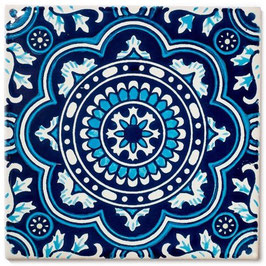 OM ROYAL Blau - 11x11 cm - Mexiko Fliese