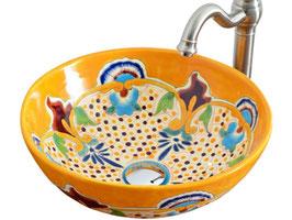 PUEBLA - MEX3 Aufsatzwaschbecken rund aus Mexiko