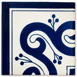 OC 144 Blau Eckfliese - 11x11 cm - Mexiko Fliese