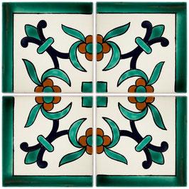 OC 111 Grün Eckfliese - 11x11 cm - Mexiko Fliesen