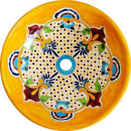 PUEBLA - MEX5 Aufsatzwaschbecken rund aus Mexiko groß rund