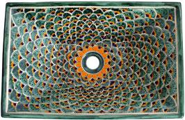 PAVO VERDE - MEX6 Aufsatzwaschbecken aus Mexiko rechteckig