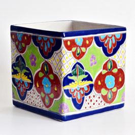 Mexiko Blumentopf Quadrat - Bunt A - 20 cm