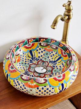 FRIDA - Donna Aufsatzwaschbecken rund aus Mexiko