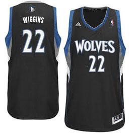 Баскетбольная майка Миннесота Тимбервулвс № 22 Уиггинс Эндрю черная SWINGMAN REV30
