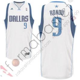 Баскетбольная майка Даллас Маверикс № 9 Рэджон Рондо Rajon Rondo белая SWINGMAN REV30