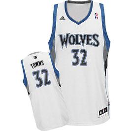 Баскетбольная майка Миннесота Тимбервулвз  № 32 КАРЛ-ЭНТОНИ ТАУНС белая SWINGMAN REV30