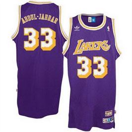 Баскетбольная майка NBA Лос-Анджелес Лейкерс №33 Карим Абдул Джаббар фиолетовая SWINGMAN Retro