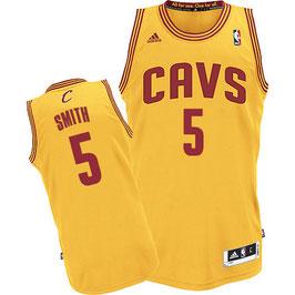 Баскетбольная майка Кливленд Кавальерс № 5 Смит Джей Ар желтая SWINGMAN REV30