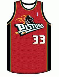 Баскетбольная майка NBA Детройт Пистонс № 33  Xилл Грант красная SWINGMAN RETRO