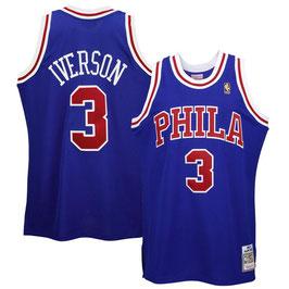 ФИЛАДЕЛЬФИЯ 76 № 3  ALLEN IVERSON синяя PHILA SWINGMAN РЕТРО баскетбольная майка NBA