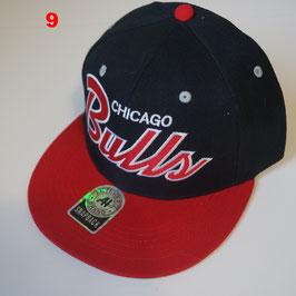 Чикаго Буллз бейсболка NBA №9 купить черную с красным прямым козырьком и буквами BULLS