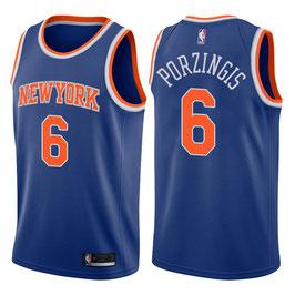 Нью-Йорк Никс № 6 Кристапс Порзингис синяя баскетбольная майка NBA Swingman