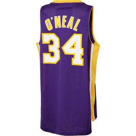 Баскетбольная майка Лос Анжелес Лейкерс № 32 Шакил О'Нил фиолетовая SWINGMAN RETRO