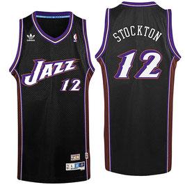 Баскетбольная майка Юта Джазз черная № 12 Джон Стоктон SWINGMAN РЕТРО