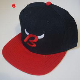 Чикаго Буллз бейсболка NBA №6 купить черную с красным прямым козырьком и буквой B