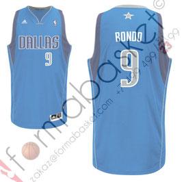 Баскетбольная майка Даллас Маверикс № 9 Рэджон Рондо Rajon Rondo голубая SWINGMAN REV30